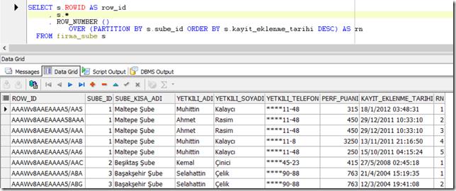 Mükerrer kayıtları işaretleme- row_number-rowid